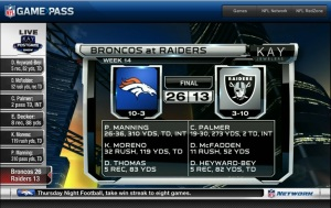 "NOW: Broncos (10-3) @ Raiders (3-10), it was never ""on"" was it? :'("